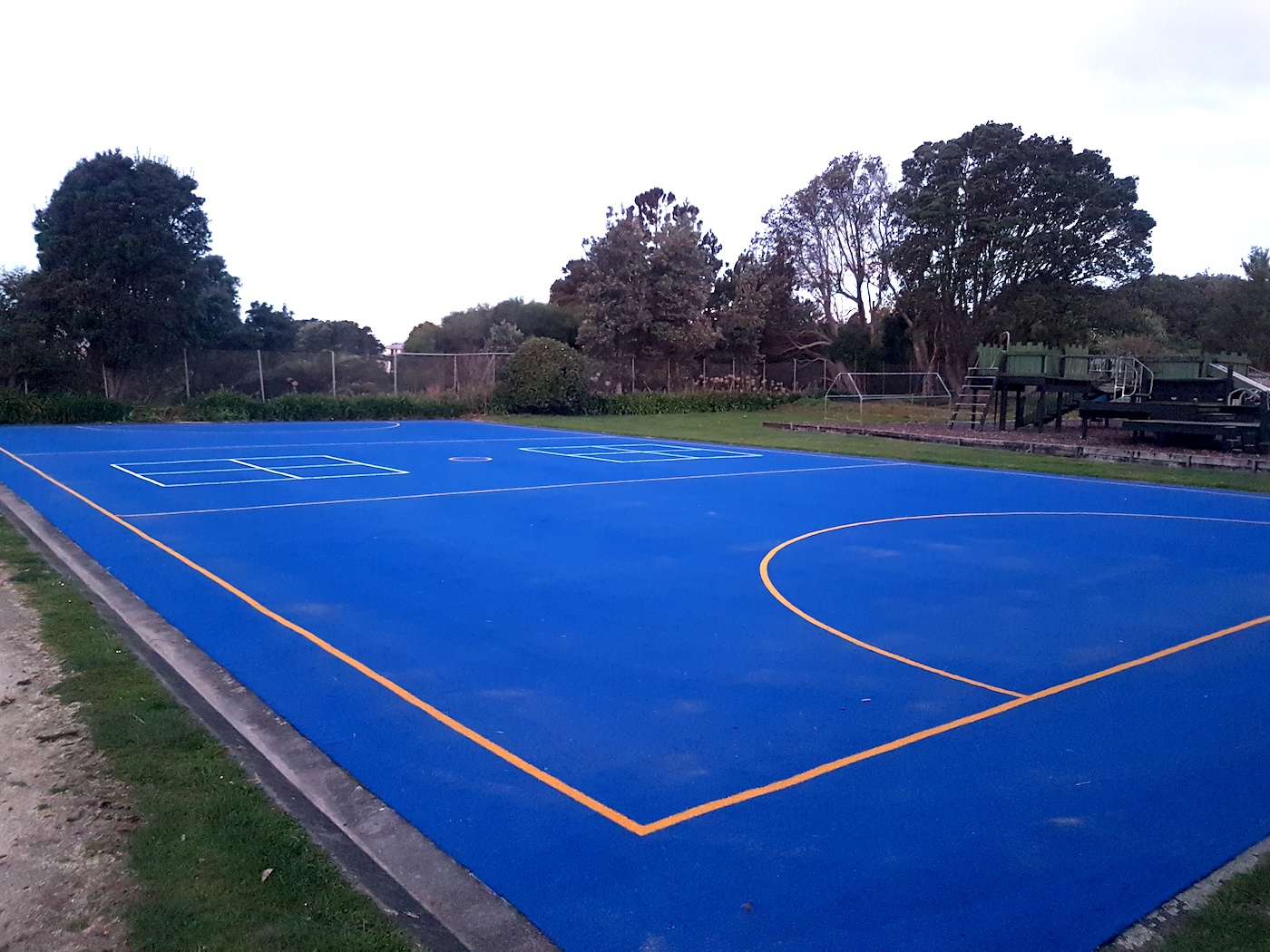 Blue school netball court